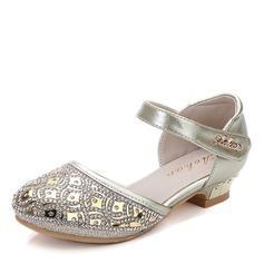 Girl's Round Toe Closed Toe Leatherette Flat Heel Flats Flower Girl Shoes With Velcro Crystal