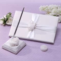 Simple Sash/Rose Guestbook & Pen Set