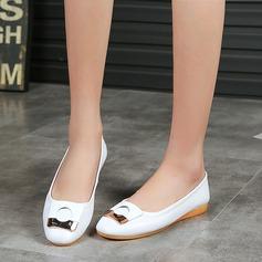 Женщины Кожа из микроволокна Плоский каблук На плокой подошве Закрытый мыс с пряжка обувь