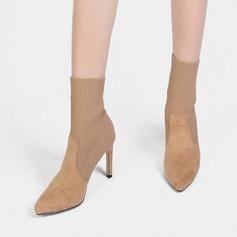 Mulheres Camurça Tecido Salto agulha Fechados Botas Botas na panturrilha com Faixa Elástica sapatos