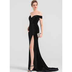 Trumpet/Mermaid Off-the-Shoulder Sweep Train Velvet Bridesmaid Dress With Split Front