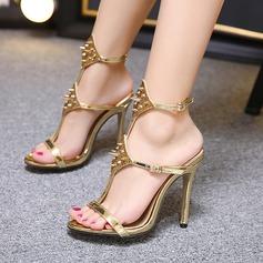 De mujer Cuero Tacón stilettos Sandalias Encaje Solo correa con Rivet Hebilla zapatos