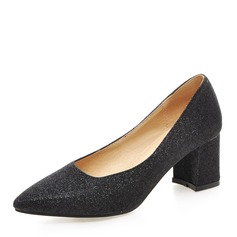 Vrouwen Sprankelende Glitter Chunky Heel Pumps Closed Toe schoenen