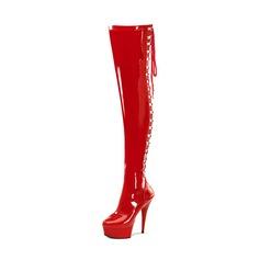 Frauen Lackleder Stöckel Absatz Absatzschuhe Plateauschuh Stiefel Stiefel über Knie mit Reißverschluss Schuhe