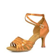 Vrouwen Satijn Hakken Sandalen Latijn modern Ballroom Tango Dansschoenen