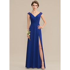 A-Line V-neck Floor-Length Chiffon Lace Bridesmaid Dress With Ruffle Split Front (007165846)