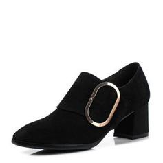 Donna Camoscio Tacco basso Stiletto Stivali alla caviglia con Fibbia scarpe