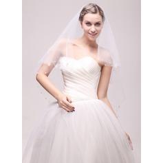 Uno capa Corte de borde Velos de novia vals con Cuentas