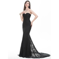 Trumpet/Mermaid Sweetheart Sweep Train Lace Prom Dress (018105695)