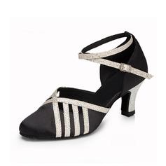 Женщины Атлас кожа На каблуках На каблуках Бальные танцы с Ремешок на щиколотке Обувь для танцев