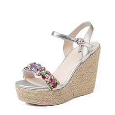 Vrouwen Echt leer Microfiber leer Wedge Heel Sandalen Wedges Beach Wedding Shoes met Gesp Strass