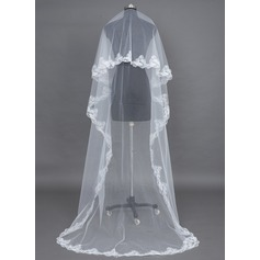 Uno capa Velos de novia capilla con Con Aplicación de encaje