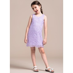 A-Line/Princess Scoop Neck Short/Mini Lace Junior Bridesmaid Dress