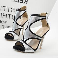 De mujer Cuero Tacón stilettos Sandalias Salón Encaje con Cremallera Agujereado Material Block zapatos