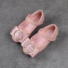 Muchacha Punta Cerrada Ballet plano Cuero de Microfibra Talón plano Planos Zapatos de niña de las flores con Bowknot Rhinestone Velcro