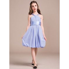 A-Line/Princess V-neck Knee-Length Chiffon Junior Bridesmaid Dress With Ruffle (009081133)