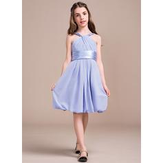 Vestidos princesa/ Formato A Decote V Coquetel Tecido de seda Vestido de daminha júnior com Pregueado (009081133)