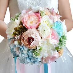 прекрасный Круглый Лента/Шелковые белье Свадебные букеты