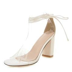 Vrouwen PU Chunky Heel Sandalen Pumps Peep Toe met Lovertje Vastrijgen schoenen