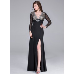 Sheath/Column V-neck Floor-Length Chiffon Lace Prom Dress With Beading Split Front