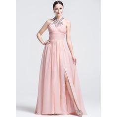 Vestidos princesa/ Formato A Decote redondo Sweep/Brush trem Vestido de festa com Pregueado Beading lantejoulas Frente aberta