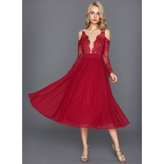 A-Line Scoop Neck Tea-Length Jersey Cocktail Dress With Ruffle