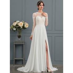 A-linje Illusion Sweep/Brush train Chiffon Brudekjole med Applikationer Lace Splittet Front (002153452)