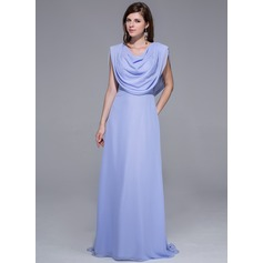 Sheath/Column Sweep Train Chiffon Evening Dress