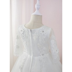 Robe Marquise/Princesse Longueur mollet Robes à Fleurs pour Filles - Tulle/Dentelle Manches longues Col rond avec Brodé/Fleur(s)