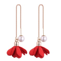 Fashional Imitation Pearls Fabric Copper Ladies' Fashion Earrings