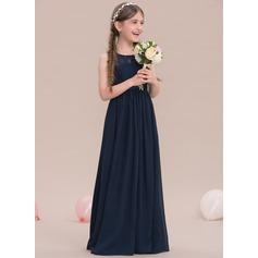 A-Linie U-Ausschnitt Bodenlang Chiffon Kleider für junge Brautjungfern
