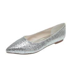 Kvinnor Glittrande Glitter Flat Heel Stängt Toe Platta Skor / Fritidsskor