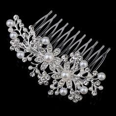 En forma de flor Rhinestone/Aleación/Perlas de imitación Peines y pasador