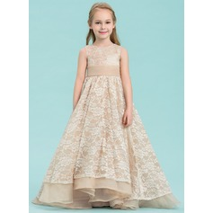 A-Line/Princess Asymmetrical Flower Girl Dress - Organza/Lace Sleeveless Scoop Neck With Beading/Bow(s) (010143248)