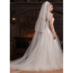 Three-tier Cathedral Bridal Veils With Ribbon Edge