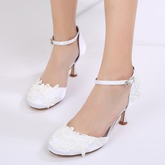 Women's Silk Like Satin Stiletto Heel Closed Toe Pumps Sandals With Buckle Applique (047133589)