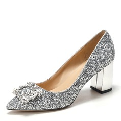Women's Sparkling Glitter Chunky Heel Closed Toe Pumps With Crystal