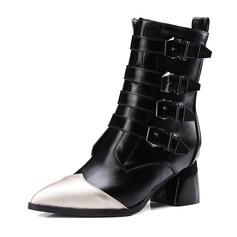 Naisten Keinonahasta Chunky heel Kengät Mid-calf saappaat jossa Solki Split yhteinen kengät