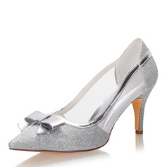 Women's Sparkling Glitter Mesh Stiletto Heel Closed Toe Pumps With Bowknot Sparkling Glitter