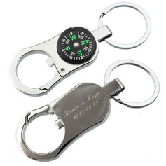 Personalized Compass Zinc Alloy Keychains/Bottle Opener
