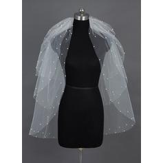 4 couches Voile de mariée longueur bout des doigts avec Bord de coupe/Bord orné de perle