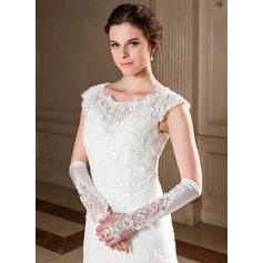 Упругие атласная локоть длина Свадебные перчатки