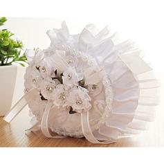 Elegante Rose Ring Kissen in Stoff mit Blumen/Spitze