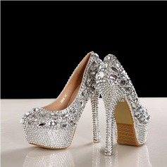Women's Real Leather Stiletto Heel Closed Toe Pumps With Rhinestone Crystal Heel