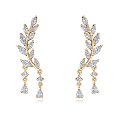 Nice Zircon Copper Silver Ladies' Fashion Earrings