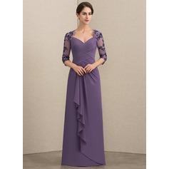 A-Linie/Princess-Linie Schatz Bodenlang Chiffon Pailletten Kleid für die Brautmutter mit Gestufte Rüschen