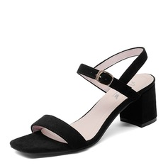 Femmes Suède Talon bottier Sandales Escarpins À bout ouvert chaussures