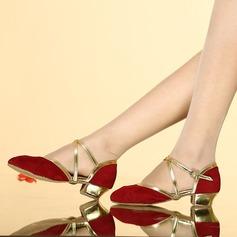 Femmes Similicuir Suède Sandales Salle de bal avec Boucle Ouvertes Chaussures de danse