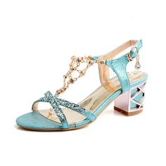 Mulheres Couro Salto robusto Sandálias Bombas Peep toe sapatos (087094399)