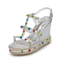 Женщины PU Вид каблука Сандалии Танкетка Открытый мыс Босоножки с горный хрусталь обувь